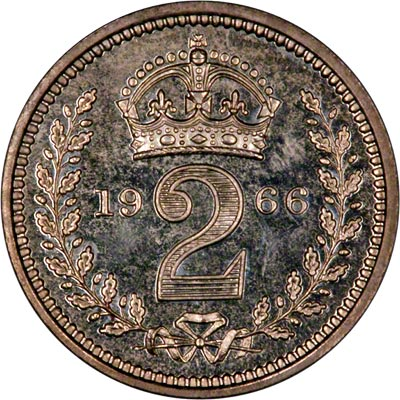 Reverse of 1966 Maundy Twopence