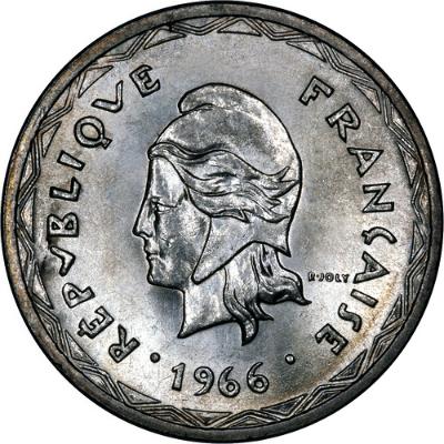 1966 New Hebrides Silver One Hundred Franc Obverse