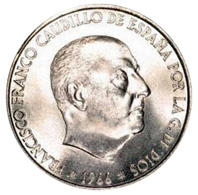 General Franco on Obverse of Spanish 100 Pesetas 1966