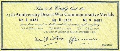 1966 Desert War 25th Anniversary Gold Medallion Certificate