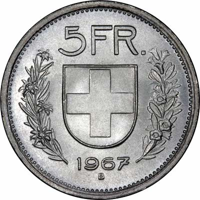 Reverse of 1967b 5 Francs