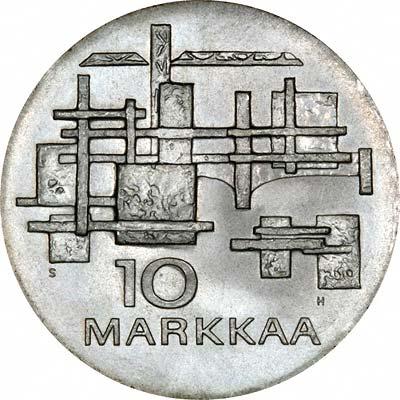 Reverse of 1967 Finland 10 Kroners