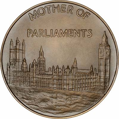 Reverse of 1967 Houses of Parliament Bronze Medallion