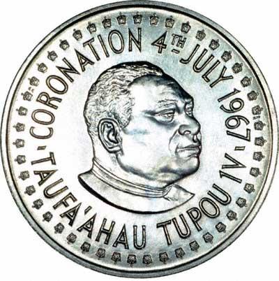 Obverse of 1967 Tonga Palladium One Hau