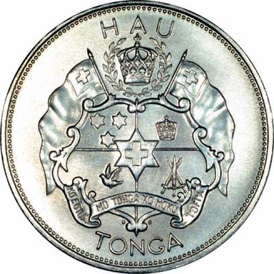 Reverse of 1967 Tonga Palladium One Hau
