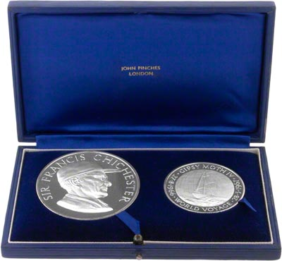 Sir Francis Chichester Silver Medallion Set in Presentation Box