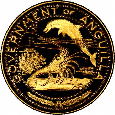 Obverse of 1969 Anguilla Gold 10 Dollars