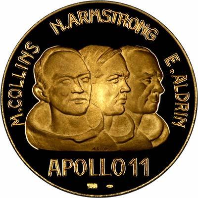 Obverse of First Moon Landing Gold Medallion