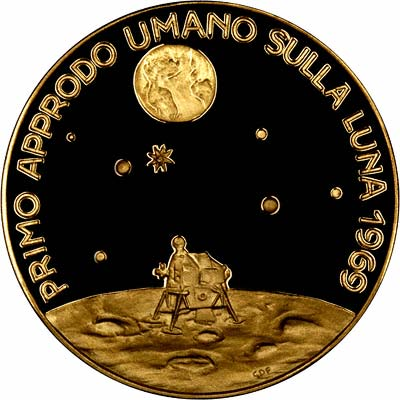 Reverse of First Moon Landing Gold Medallion