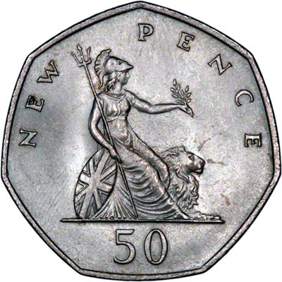Reverse of the 1969 Fifty New Pence