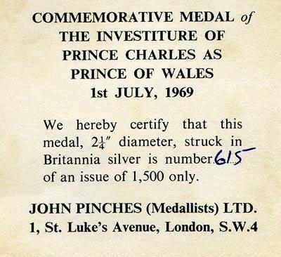 1969 Investiture Medallion Certificate