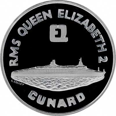 Obverse of 1969 Queen Elizabeth II Maiden Voyage in Palladium