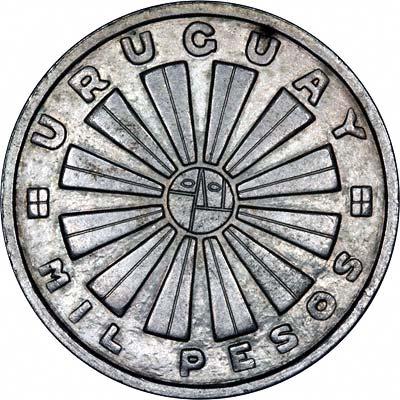 Obverse of 1969 Uruguay Silver 1000 Pesos