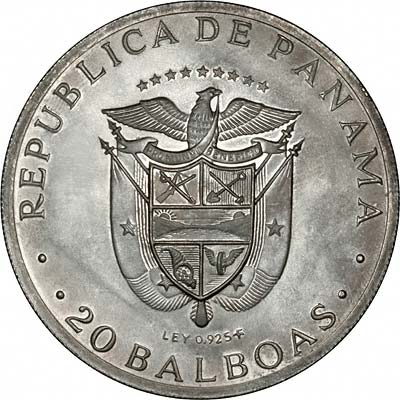 Reverse of 1971 Panama 20 Balboas