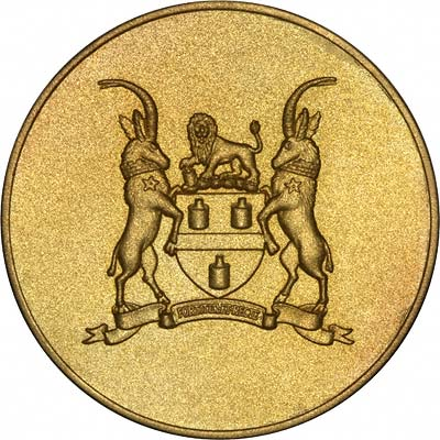 Reverse of De Beers Diamond Research Laboratory 1947 - 1972 Silver Jubilee Gold Medallion