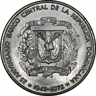 Obverse of 1972 Dominican Republic Silver Un Peso