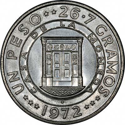 Mint Building on Reverse of 1972 Dominican Republic Silver Un Peso