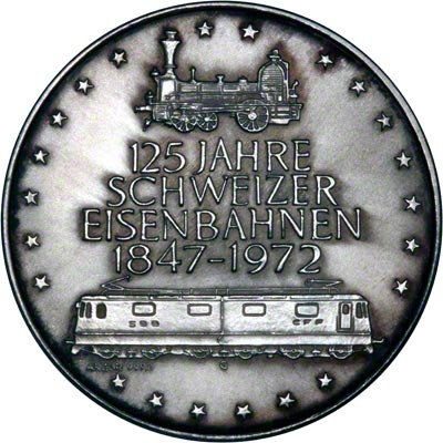 Obverse of 1972 Silver Medallion - Guterzug Locomotive