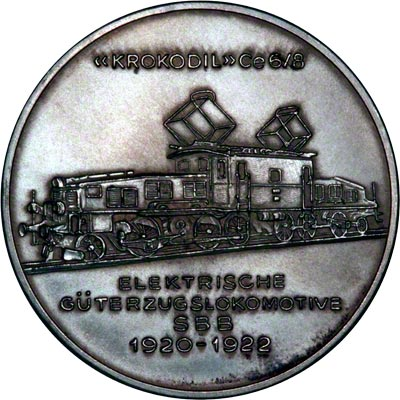 Reverse of 1972 Silver Medallion - Guterzug Locomotive