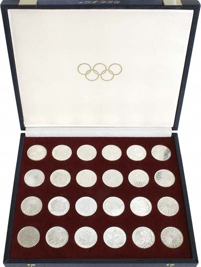 Set of 24 1972 German Munich Olympics 10 Marks in Box