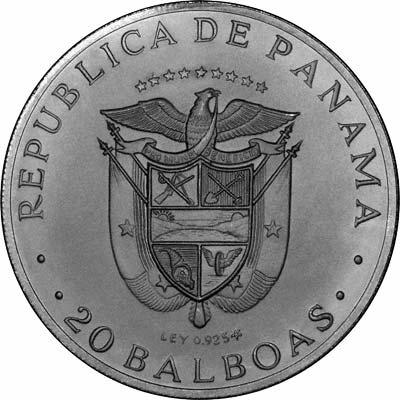 Reverse of 1972 Panama Matt Finish 20 Balboas