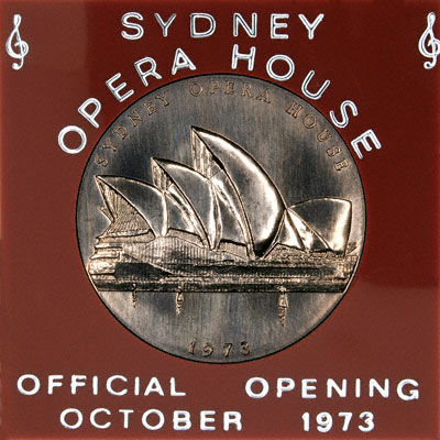 Obverse of 1973 Sydney Opera House Medallion in Presentation Case