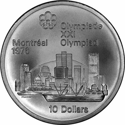 View of Montreal on Reverse of 1973 Canadian 10 Dollars