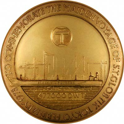 Maiden Voyage Route of Steam Tanker Globtik on Reverse of 1973 Gold Medallion