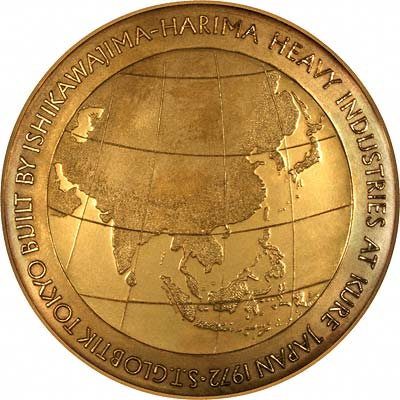 Maiden Voyage Route of Steam Tanker Globtik 1973 Gold Medallion in Box