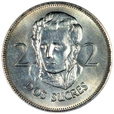 Obverse of 1968 Ecuadorian 2 Sucres