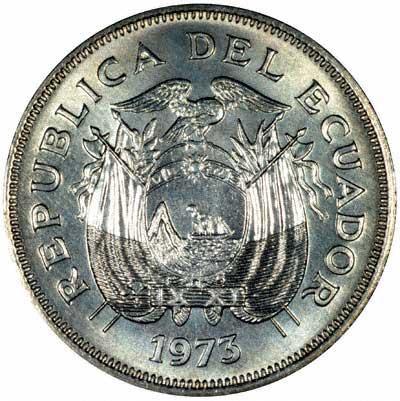 Reverse of 1973 Ecuadorian Dos Sucres