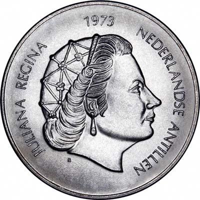 Obverse of 1973 Netherlands Antilles 25 Gulden