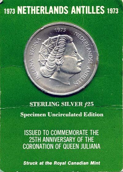 Obverse of 1973 Netherlands Antilles 25 Gulden in Presentation Card