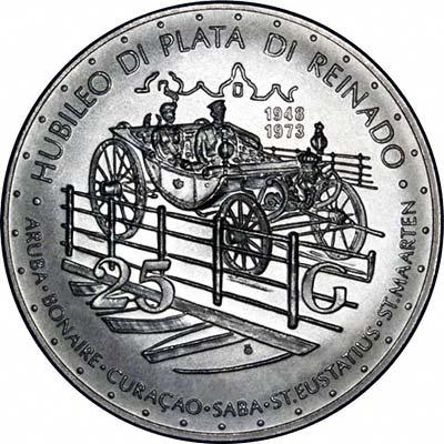 Reverse of 1973 Netherlands Antilles 25 Gulden