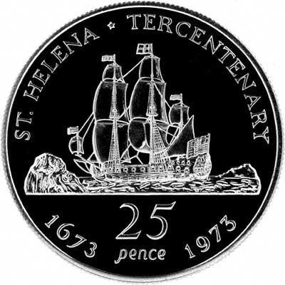 Reverse of 1973 Saint Helena Tercentenary Silver Proof Crown
