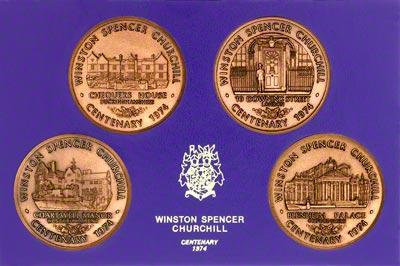 1974 Centenary of Winston Churchill, Set of Four Bronze Medallions