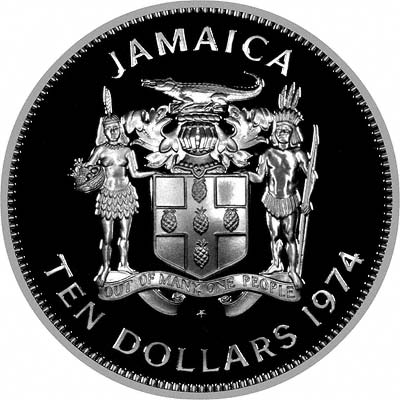 Sir Henry Morgan, Lieutenant Governor of Jamaica 1674 on Obverse of 1974 Silver Proof 10 Dollars