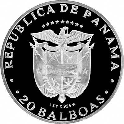 Reverse of 1974 Panama Silver 1 Balboa