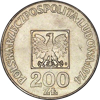 Obverse of 1974 Polish 2000 Zloty