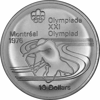 Reverse of 1975 Canada 10 Dollars - Paddler