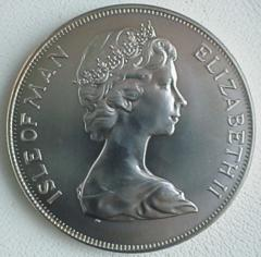Obverse of 1975 Manx Silver Cat Crown