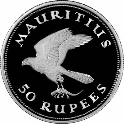 Kestrel on Obverse of 1975 Mauritius Conservation 50 Rupees