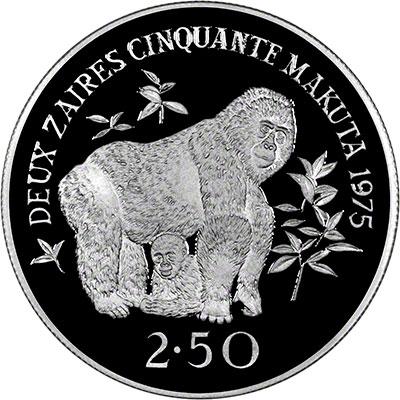 Reverse of 1975 Zaire Gorilla 2.5 Zaires