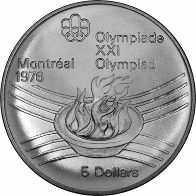 Reverse of 1975 Canadian 5 Dollars - Olympic Flame