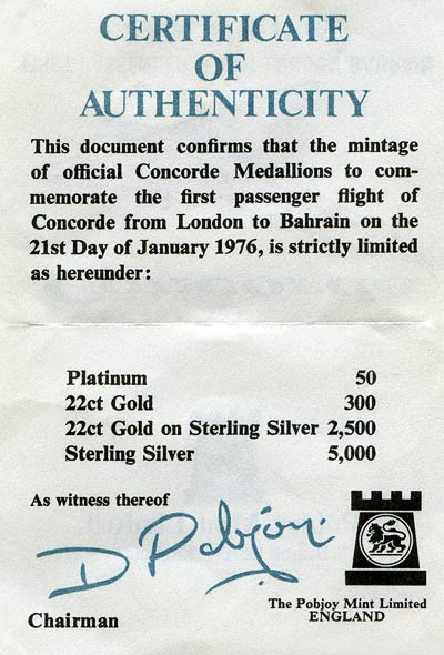 1976 Concorde Medallion Certificate