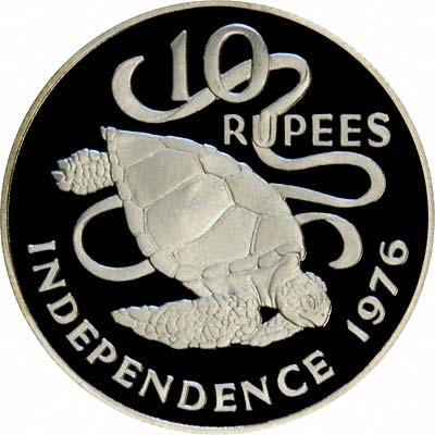 Turtle on Reverse of 1976 Seychelles Silver 10 Rupees