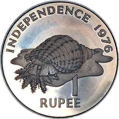 Triton Conch Shell on Reverse of 1976 Seychelles 1 Rupee