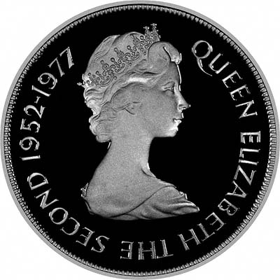 Obverse of 1977 Guernsey 25 Pence silver coin