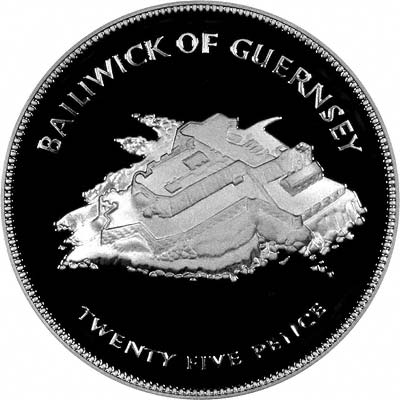 Reverse of 1977 Guernsey 25 Pence silver coin