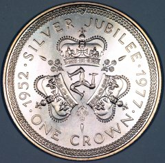 Reverse of Isle of Man 1977 Silver Jubilee Crown